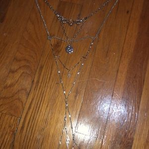 American Eagle Silver Long Eye Layering Necklace